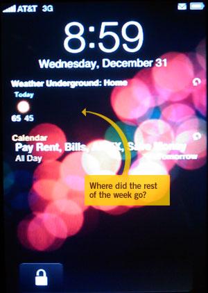 Y2K9 bug on Intelliscreen
