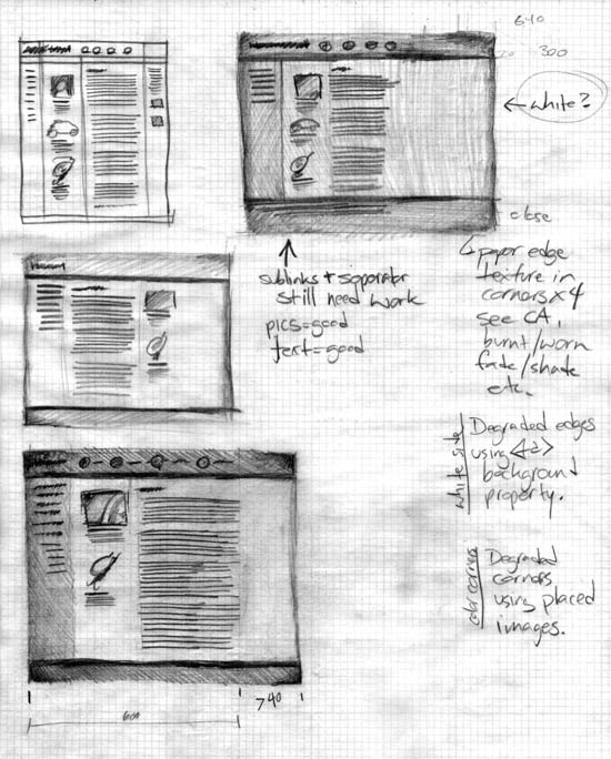Web site design using paper and pencil