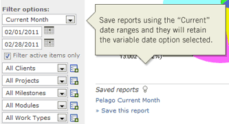Save reports using current date range