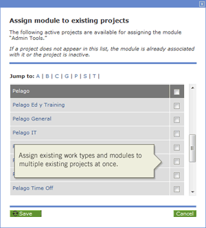 Assign modules and worktypes to existing managed projects