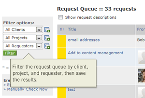 Task management request queue filter