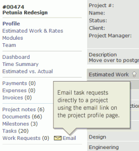 Email requests and associate them with a project