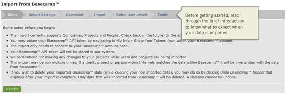 Intervals Basecamp Data Import Overview
