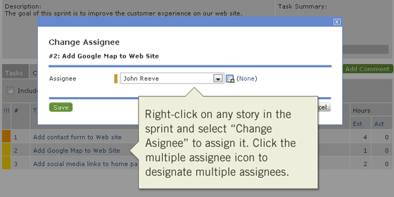 Right-click on any story in the sprint to assign it