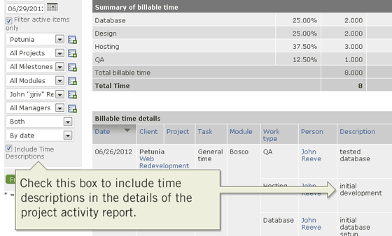 Include time tracking descriptions in the project activity report