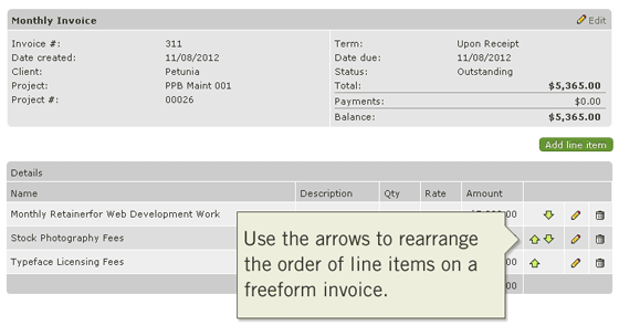 Change the Order of Invoice Line Items