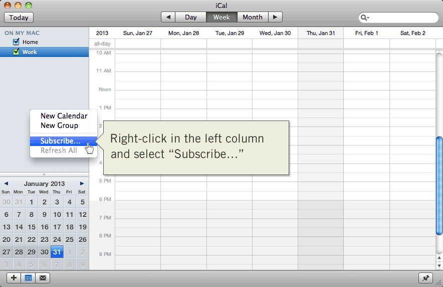 Subscribe to a new calendar in Apple iCal