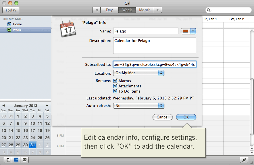 Configure iCalendar Subscription Settings in Apple iCal