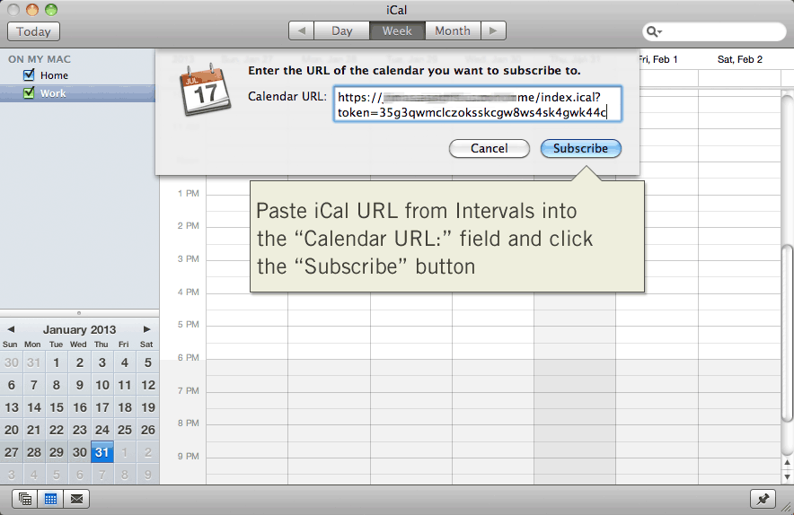 Paste iCalendar URL from Intervals into Apple iCal