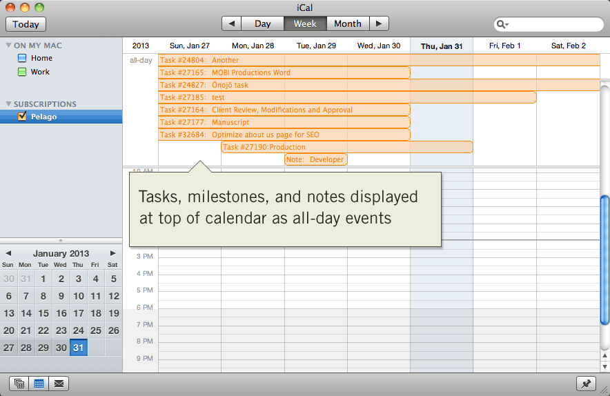 Intervals milestones, tasks, and notes displayed as all-day events in Apple iCal