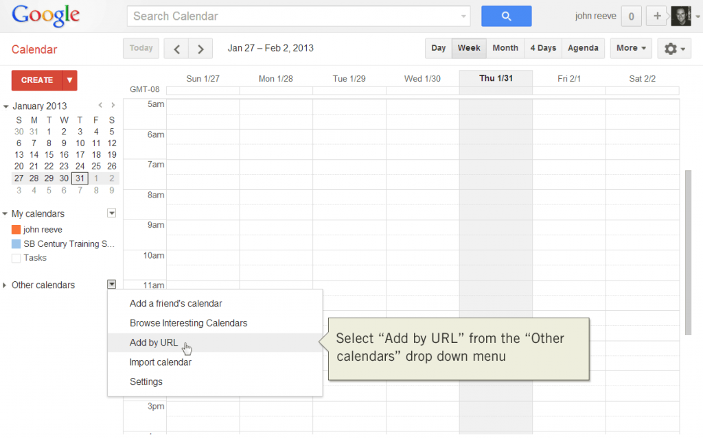 Add calendar by URL with Google Calendar