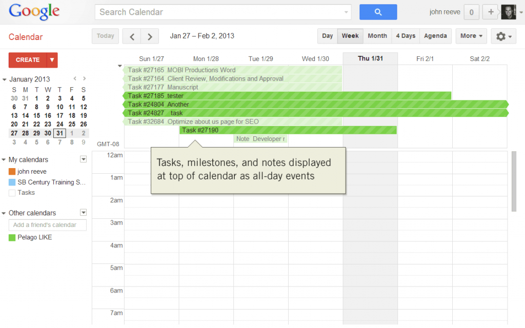 Intervals tasks, milestones, and notes displayed in Google Calendar