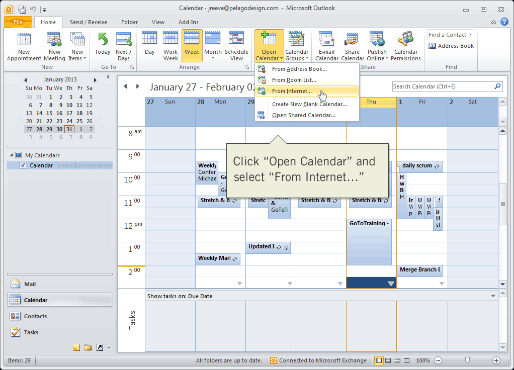 Open calendar from Internet in Outlook