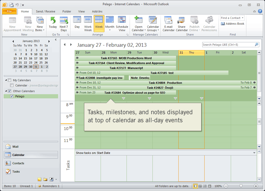 Intervals tasks, milestones, and notes displayed in Outlook