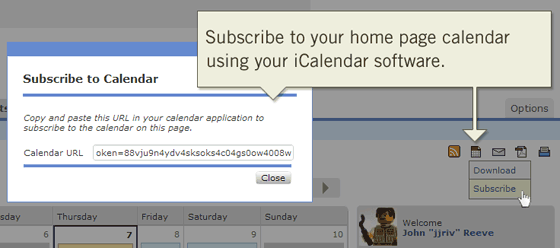 Subscribe to your home page calendar using your favorite iCalendar software