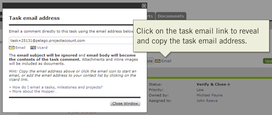 Updating and Tracking Tasks Online via Email Address