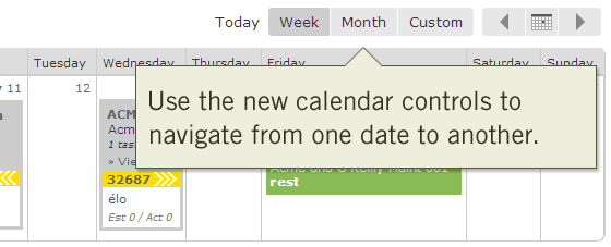 Use the new calendar controls to navigate from one date to another