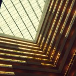 Looking up from the lobby of a hotel