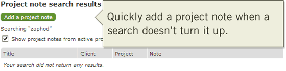 Add project note from search results page