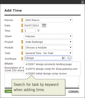 Search task by keyword when adding time