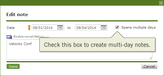 Create or edit a note to make it multi-day
