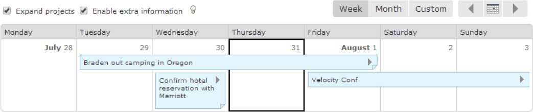 Multi-day notes on calendar