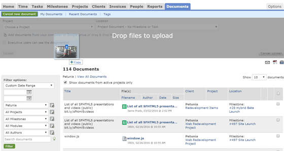 Drag & drop document uploads