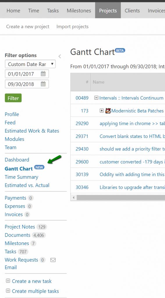 Project Link Gantt Chart
